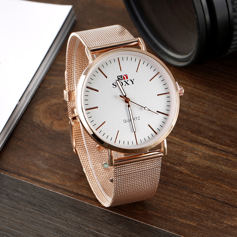 SOXY Brand Fashion Rose Gold Watch Women Watches Steel Mesh Ladies Watch Luxury Women's Watches Clock Montre Femme Reloj Mujer popular women watches brand luxury leather reloj mujer rose gold clock ladies casual quartz watch women dress watch montre femme