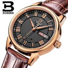 Suiza binger de las mujeres relojes de moda de lujo reloj ultrafino de la correa de cuero relojes de cuarzo auto fecha b3037g-3