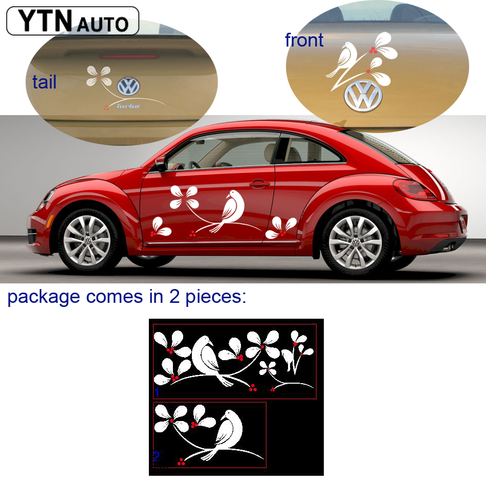free shipping flower tree bird romantic graphic vinyl for beetle truck motobike helmet in Car Stickers from Automobiles Motorcycles