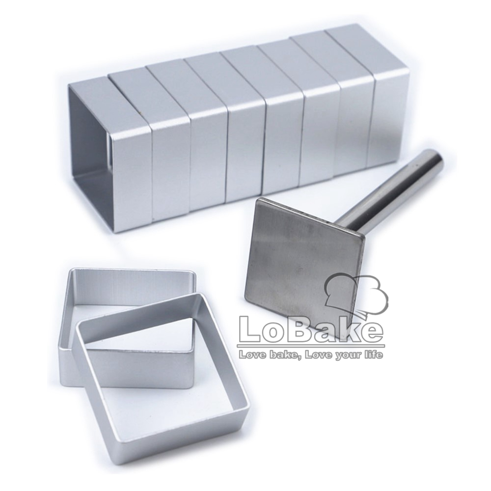 LoBake 2 units Pineapple and rectangle shape aluminium small biscuit mold with stainless steel press stamp fondant cookie molds