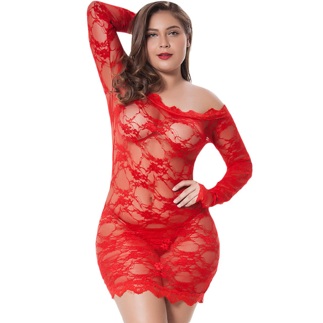 72d8369459f Kenancy Plus Size Sex Lingerie Sexy Lace Chemise Babydoll Big Size Hot  Erotic See Through Baby Doll Transparent Costume Dress