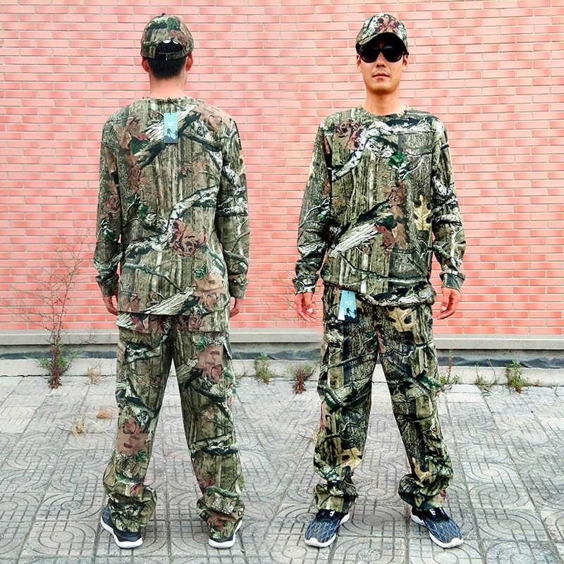 Bionic Camouflage Suit Sniper Fish Hunting Clothes Shirt Pants Hat Spring Autumn Hunting Ghillie Suit Tactical Military Uniform