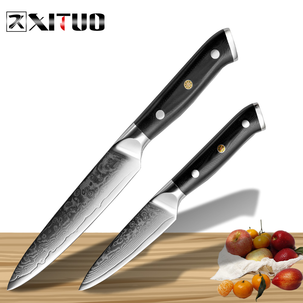 XITUO Damascus kitchen knife Sets 5 3 5 Inch Paring 2Pcs of 67 layers Japan VG10