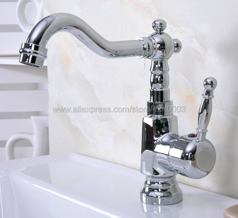 Basin Faucets Chrome Brass Bathroom Sink Faucet Swivel Spout Single Handle Bath Deck Hot and Cold Mixer Tap Water Taps Kna924 цена 2017