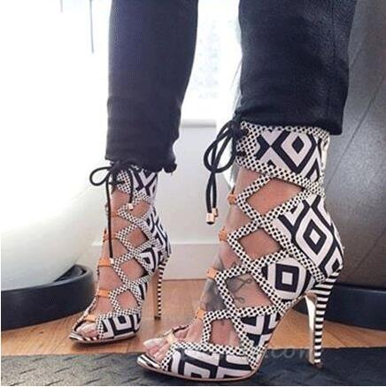 ФОТО Best selling women white/black contrast color patchwork lace up sandals high heel cut-outs chess grid open toe dress sandal