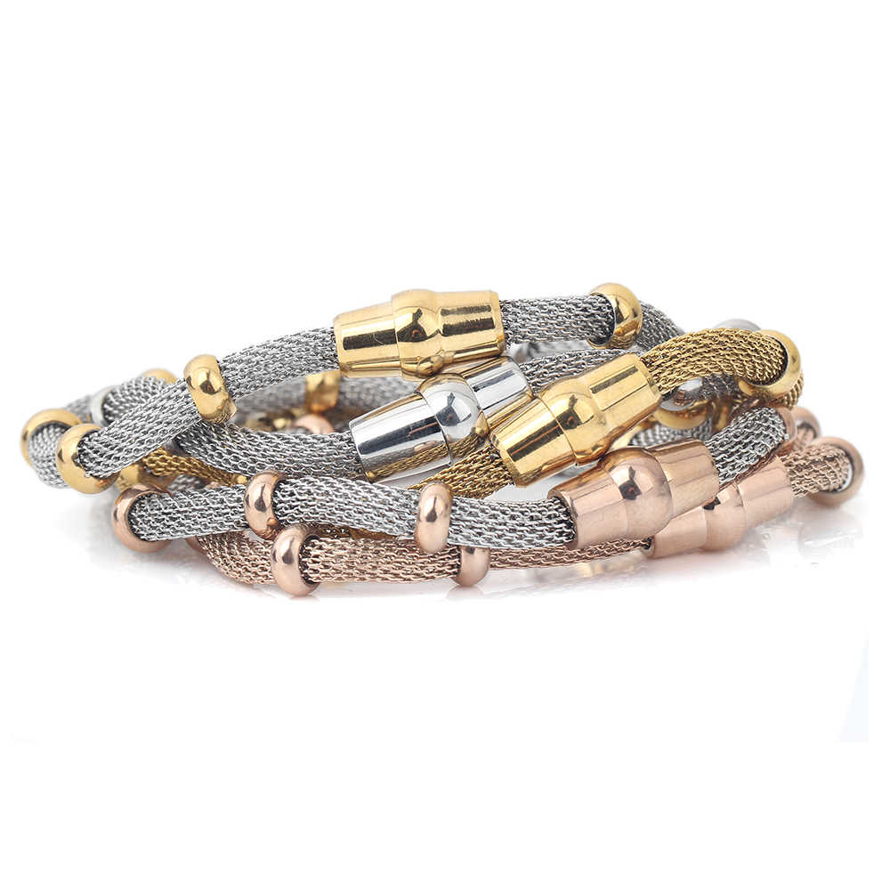High quality Three Color stainless steel clasp Bracelets with charms cable mesh bracelet chain bracelet  for men or women