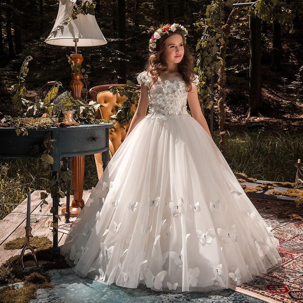 Blanc ivoire fleur fille robes papillon 3D fleurs manches courtes robe de bal premières filles Communion robe filles Pageant robe nouveau