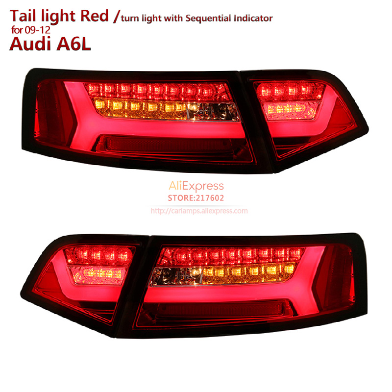for AUDI A6  A6L LED TAIL LIGHTS  Assembly fit 2009-2012 LED Turn light with Sequential Indicator Moving turn light RED Color smoke black for lexus rx350 led tail light assembly sonar brand rear lights fit 2009 cars with flashing moving turn lights