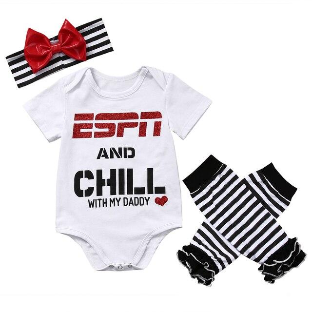 Новорожденные девочки одежда набор ESPN и Холод с Моим Папой Ползунки Комбинезон Гетры Оголовье Наряд