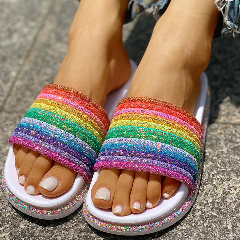 Summer Slippers Shoes Women Shining Rainbow Slides Zapatos De Mujer Flat Beach Slippers Girls