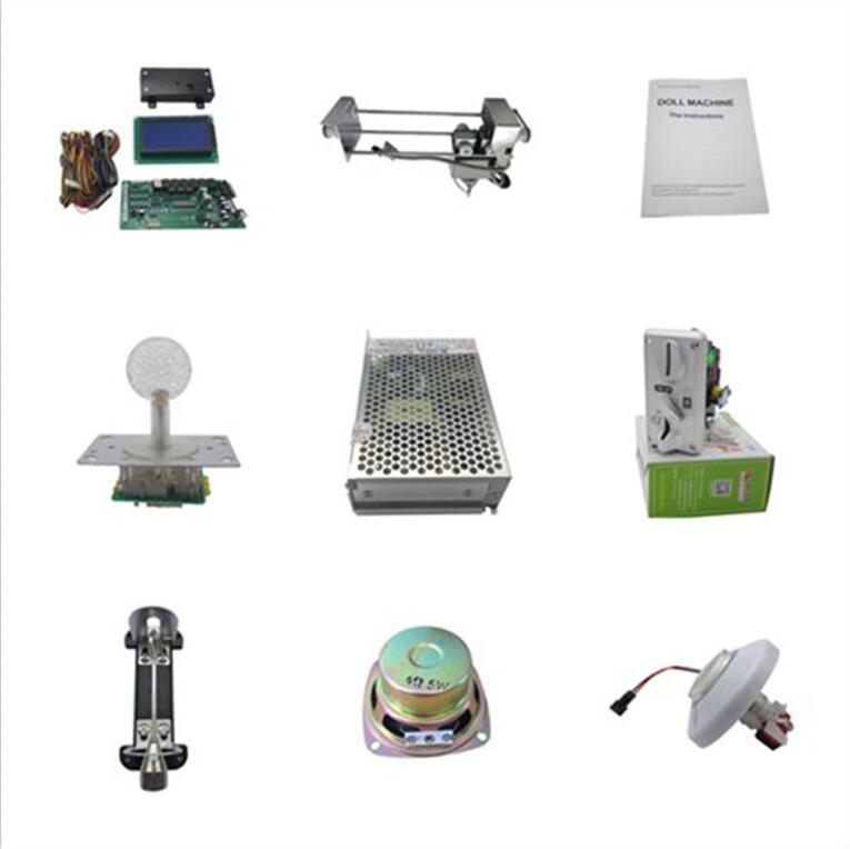 Bricolage mini kit de machine de jeu de grue de griffe avec le sélecteur de pièce de serrure de came de bouton poussoir d'alimentation de carte principale