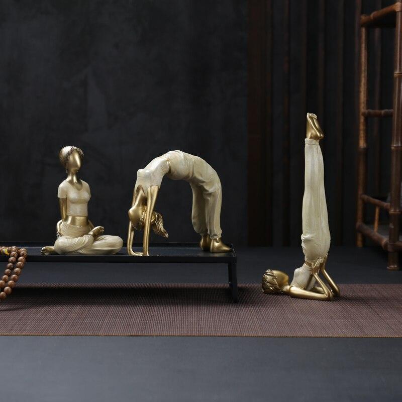 3 pièces/ensemble moderne Yoga femme décoration de la maison Figurine fille rêve Sculpture poupées résine Yoga beauté filles mariage artisanat cadeau R79