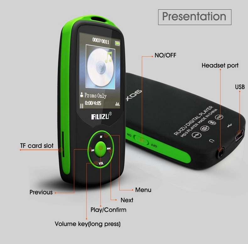 RUIZU X06 Bluetooth MP3 Player 4GB 100 Hours Lossless Sports MP3 music Player 1.8 Inch Screen FM TF Ebook Video Record Earphone (4)