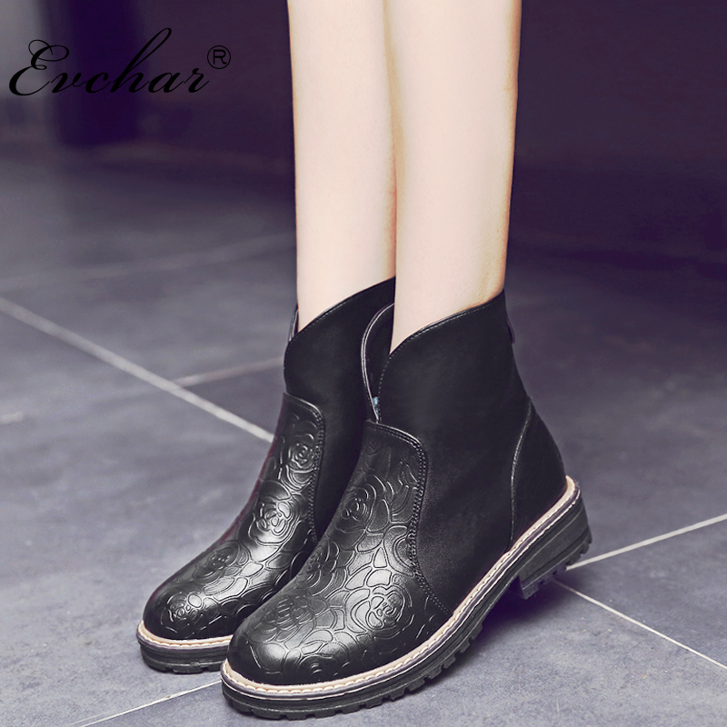 Fashion British Style Women's High Quality Ankle Boots Women Embossed Leather autumn Winter Boots Woman Shoes big size 34-43 13x30tl push pull type crash type miniature electromagnet dc 12v 24v tubular electric solenoid electromagnet stroke 6mm 50g