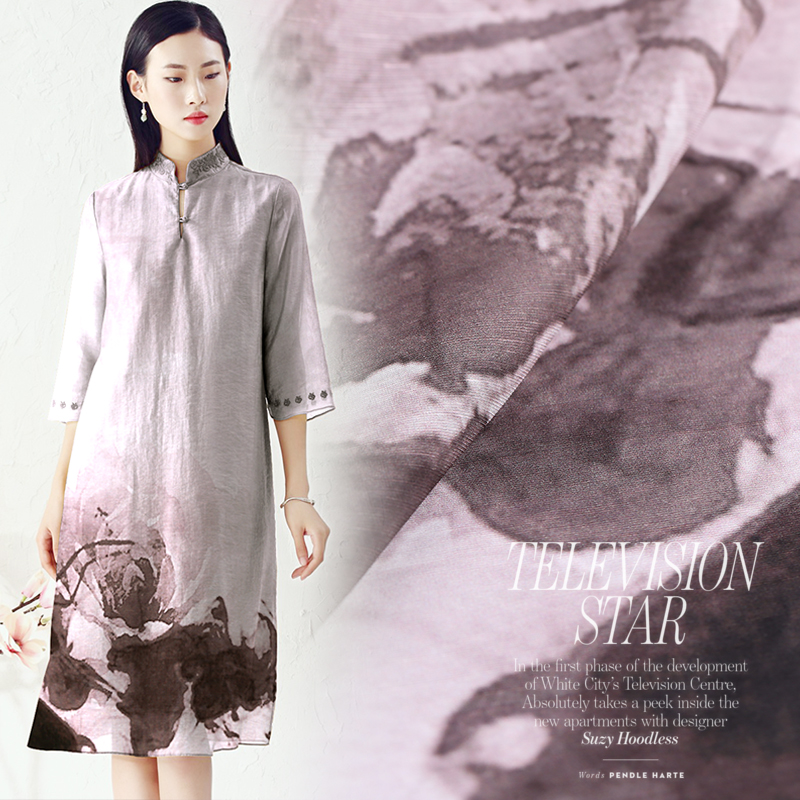 3557ec1b8da Ink Painting Style Silk Linen Fabric Printing Silk Cloth Dress Material  Sewing By The 1.18 Meters