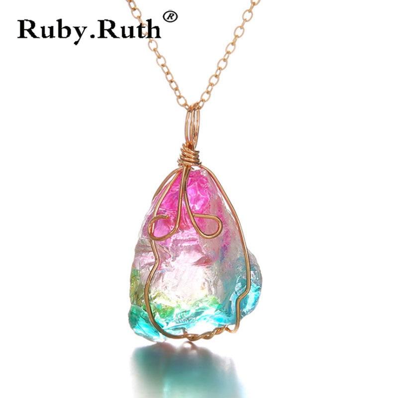 Rainbow Stone Natural Crystal Chakra Rock Necklace Quartz Pendant Nice Gift  Dropshipping