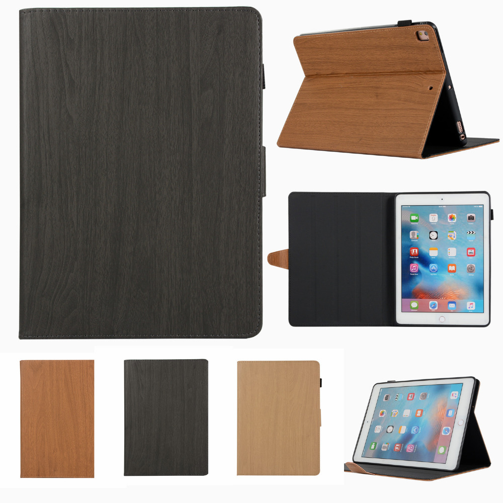 Case For Ipad 9.7 2017 2018 Case Wooden Leather Tablet Cover Stand Cases For Apple Protective Shell For Ipad