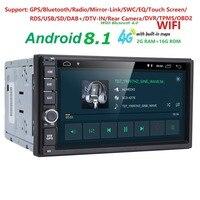 2G RAM Android 8,1 авто радио 4 ядра 7 дюймов 2DIN универсальный автомобильный без DVD плеер gps стерео аудио головное устройство поддержка DAB DVR OBD BT