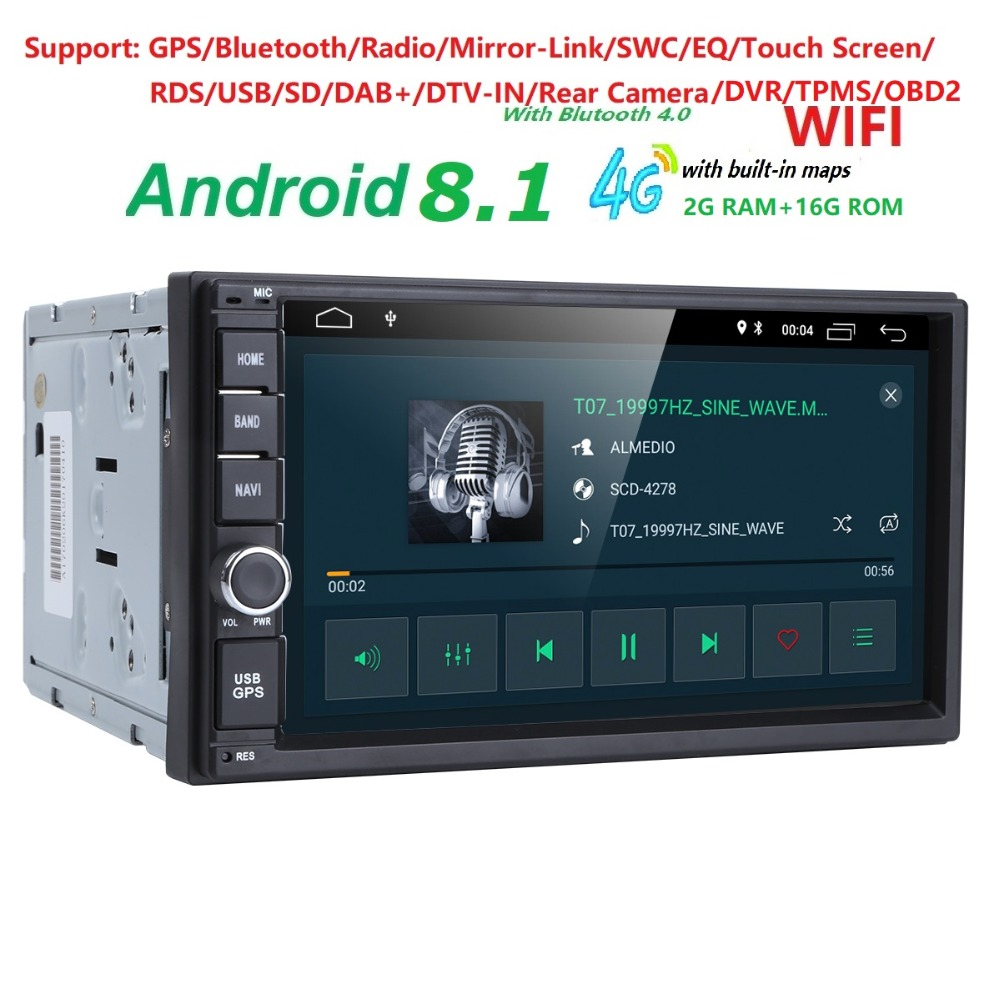 все цены на 2G RAM Android 8.1 Auto Radio Quad Core 7Inch 2DIN Universal Car NO DVD player GPS Stereo Audio Head unit Support DAB DVR OBD BT