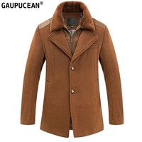Man Wool Jacket High Quality Casual Formal Zipper Buttons Black Camel Winered Male Pockets Hand Made Overcoat Men Woolen Coat