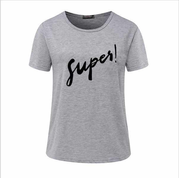 T 셔츠 여성 tshirt 2019 여름 스타일 유럽 짧은 소매 패션 supes 편지 인쇄 t-셔츠 vestidos dropshipping nvtx33