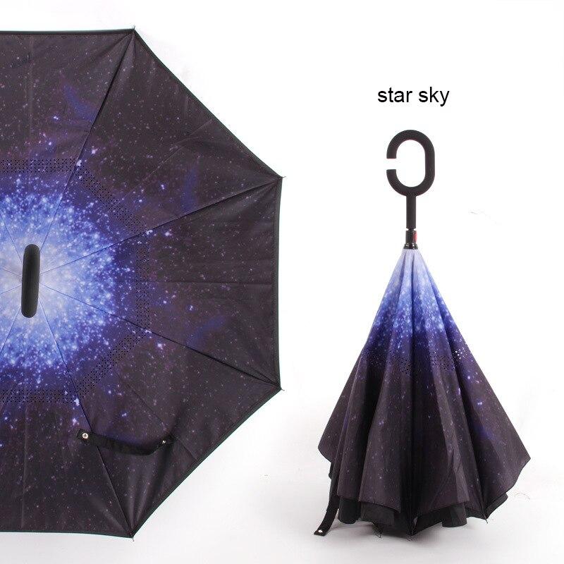 C ручкой ветрозащитный обратный складной зонтик для мужчин и женщин Защита от солнца дождь автомобиль перевернутый Зонты Двойной слой анти УФ Самостоятельная стойка Parapluie - Цвет: star sky