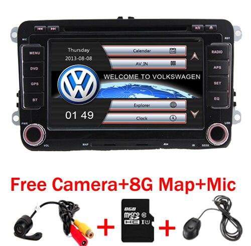 Em Estoque 7 polegada Tela de Toque 2din Carro DVD VW Golf Polo Jetta Passat Tiguan com 3G GPS Bluetooth Radio USB SD volante