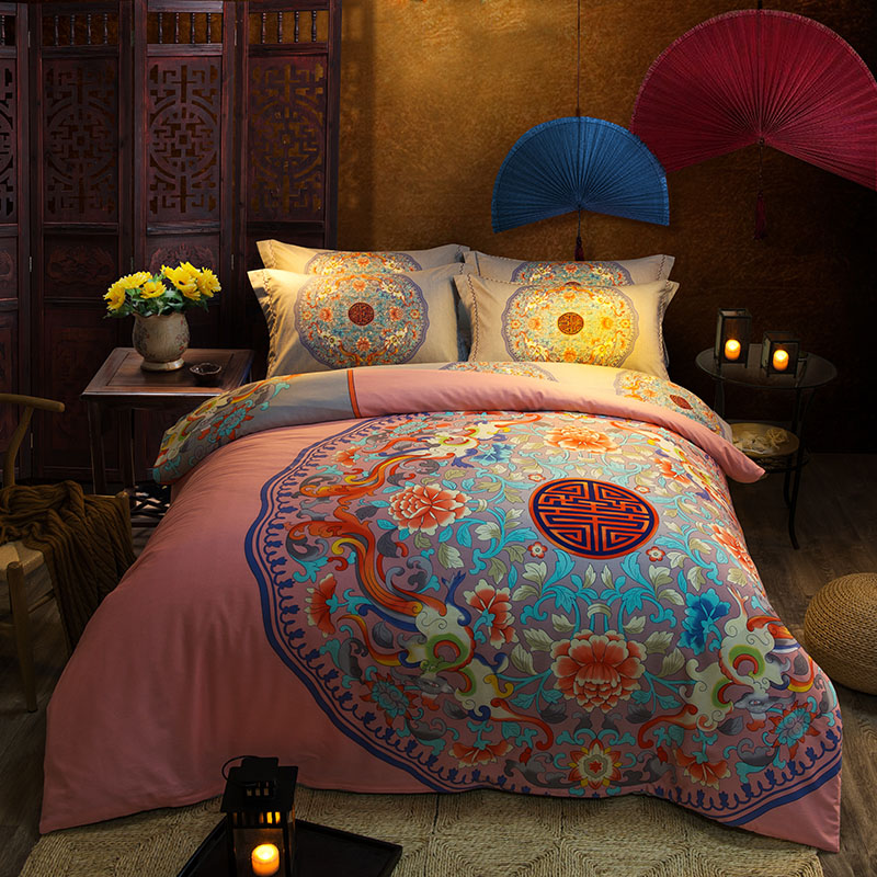 Hot Pink Chinese Royal Classical Bedding Set Full Queen