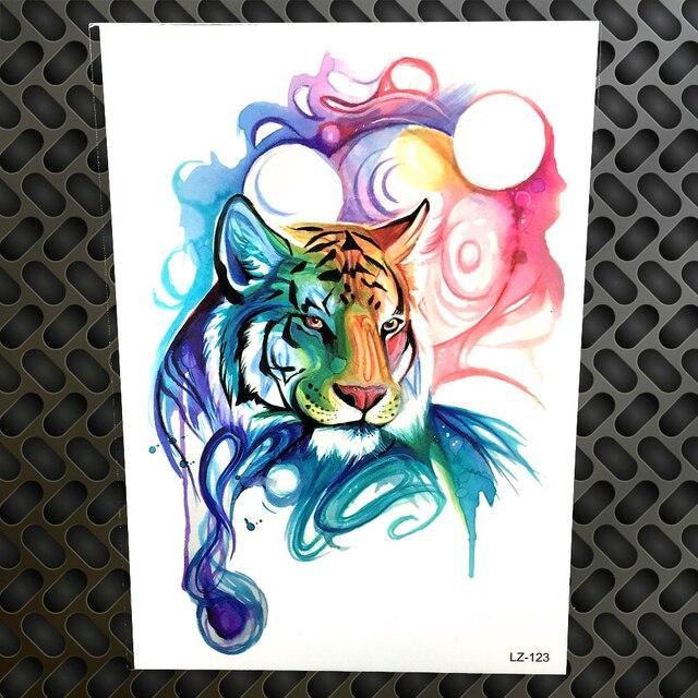 Pintura em aquarela Estilo Temporária Etiqueta Do Tatuagem de Tigre Falso Desenho de Tatuagem de Transferência da Água Arte Corporal Tatoo Homens Mulheres À Prova D' Água