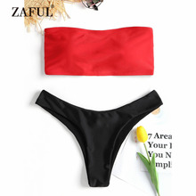 ZAFUL Bikini Lace-up High Cut Thong Bikini Set Strapless Women's Swimsuit Sexy Bandeau Padded Swimwear Women Solid Swimming Suit