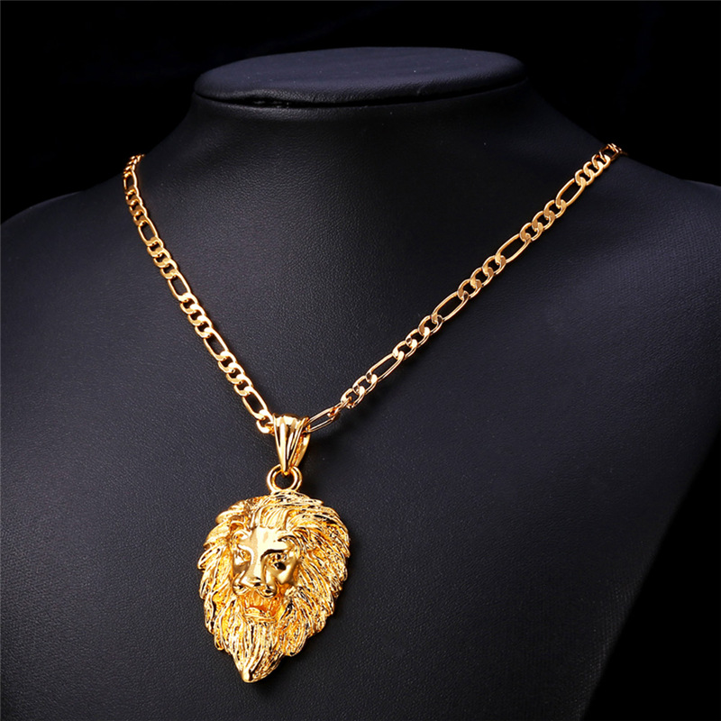 U7 hip hop big lion head pendant necklace animal king vintage gold u7 hip hop big lion head pendant necklace animal king vintage goldsilver color hiphop chain for menwomen jewelry gift p333 in pendant necklaces from aloadofball Image collections