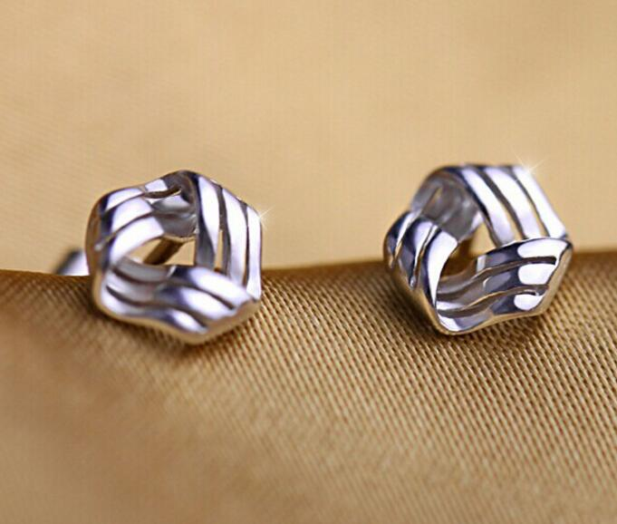 ANENJERY Silver Color Triangle Twisted Stud Earrings Fashion Jewelry For Women brincos S-E147