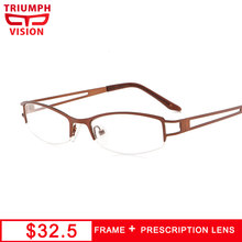87b7506852 TRIUMPH VISION Half Frame Light Metal Glasses Women Clear Lens1.67 Optical  Spectacles Myopia Prescription Glasses Anti Blue Ray