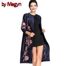 by Megyn M XXXL Satin Ethnic Floral Embroidery Trench Coat Long Outwear 2017 Spring Autumn Plus