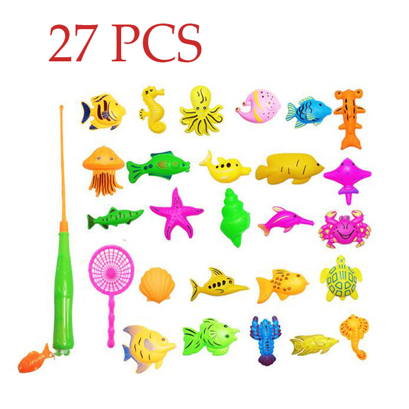 27 pcs / set Kids Baby Toddler Magnetic Fishing Pole Tools Bath Toys Game Summer outdoors indoor Fishing toy Color random send