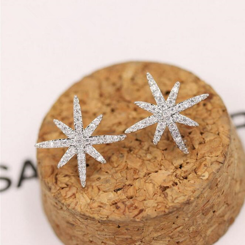 925 Sterling Silver Jewelry Temperament Fashion Micro-inlaid Zircon Crystal Accessories Female Personality Stud Earrings SE211