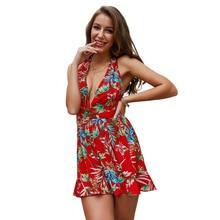 2019 women Super Comfy Floral Short Jumpsuit Backless Fashion Trend Sling Print Loose Piece Trousers N20D