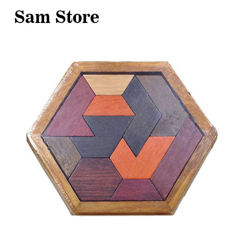 Copii puzzle-uri Jucarii din lemn Tangram Jigsaw Board Lemn Geometric - Jocuri și puzzle-uri
