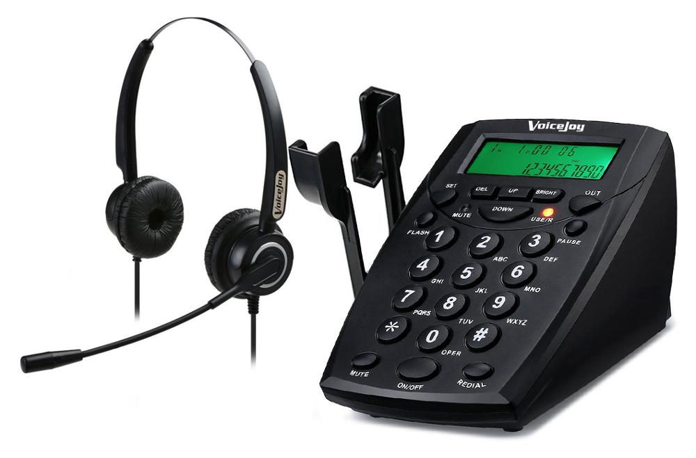 Call Center Corded Phone Dialpad Telephones with Double Earphones Noise Cancellation Headset PC Recording Function telephone