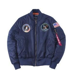 Image 3 - ฤดูหนาว Apollo 100th SPACE SHUTTLE MISSION หนา MA1 เครื่องบินทิ้งระเบิด HIPHOP US Air Force นักบิน WARM เสื้อแจ็คเก็ตสำหรับผู้ชาย