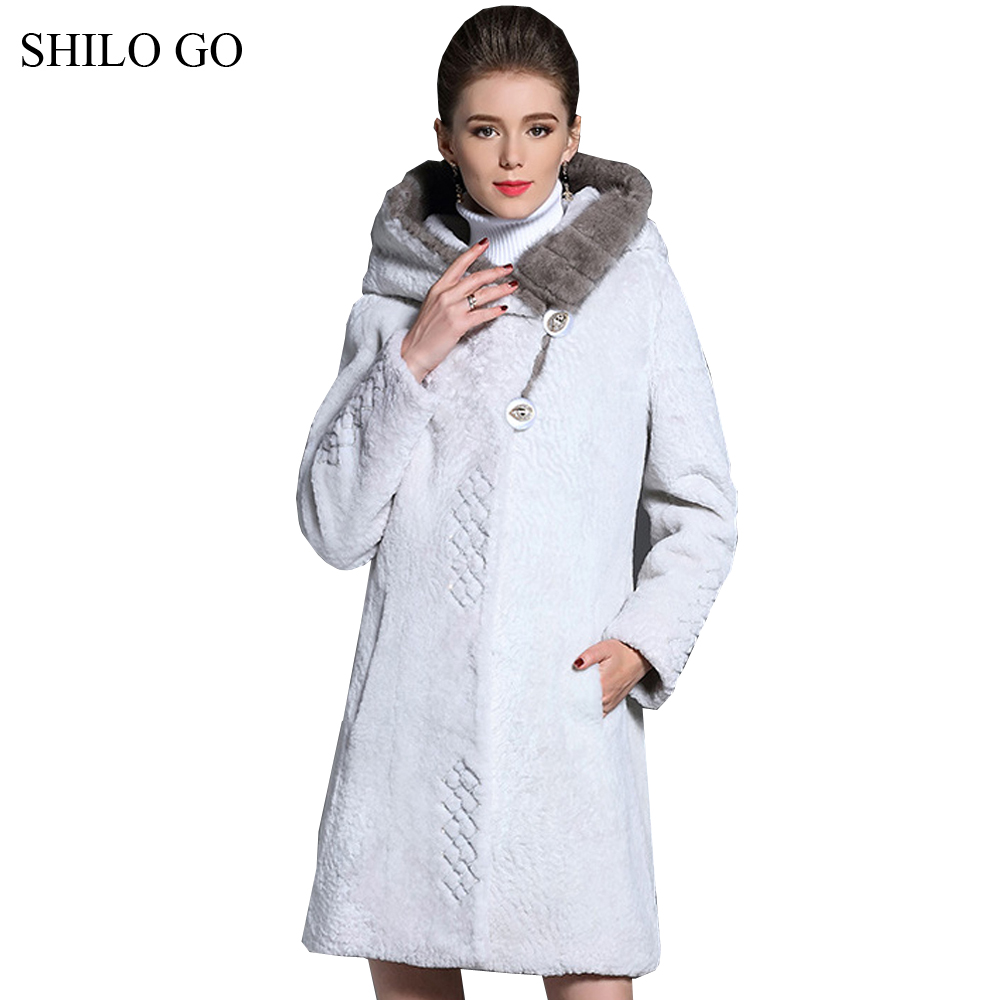 SHILO GO Fur Coat Womens Winter Fashion Merino sheep fur long coat hooded Mink collar leather belt button White warm fur Coat