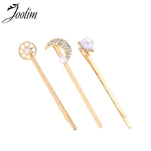 JOOLIM 3pcs/set Gold Color Moon Star Hair Pins Jewelry Wholesale