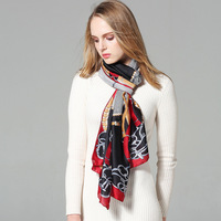 New European And American Fashion Classic Chain Pattern Scarf Soft High Quality Satin Silk Wild Women