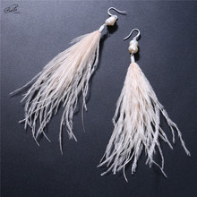 Badu Irregular Freshwater Pearl Drop Earring Long Ostrich Feather 4 Colors Women Jewelry Gift Holiday Collocation