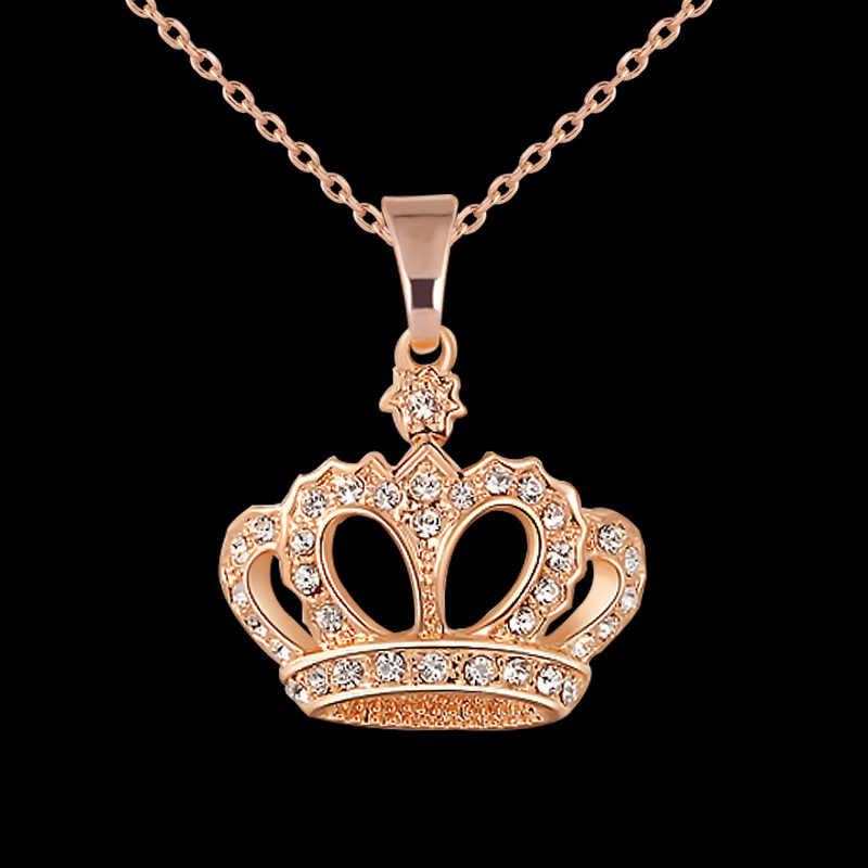 Newly Women Necklace Alloy Chain Choker Crystals Crown Pendant Necklaces Girl Jewelry Gift