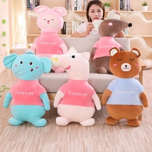 New 1pc 55/80cm Fur Animal Cartoon Pillow Cushion Cute Pig Mouse Rabbit Elephant Bear Plush Toy Child Birthday Gift