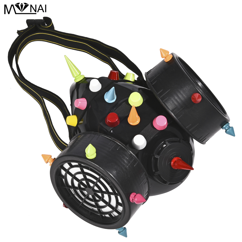 Image 5 - Punk Multi color Rivets Goggles Face Dust Gas Mask Steampunk  Costumes Colorful Spikes Glasses with Mask Set Party HalloweenBoys  Costume Accessories