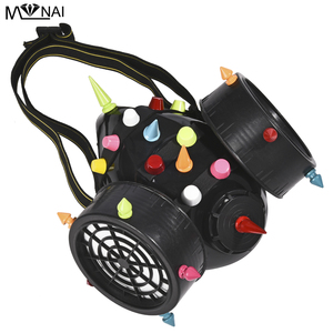 Image 5 - Punk Multi color Rivets Goggles Face Dust Gas Mask Steampunk Costumes Colorful Spikes Glasses with Mask Set Party Halloween