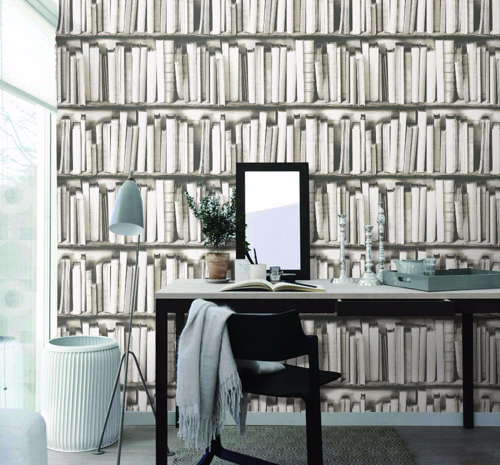 New Arrive 3D PVC Book Style Wallpaper Waterproof Wall Stickers Interior Decor Papel De Parede 3d Wholesale