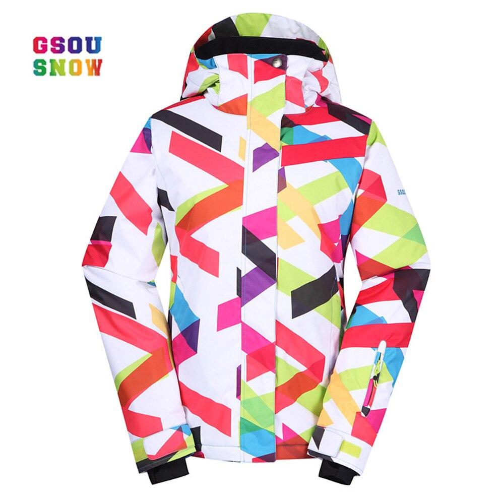 все цены на GSOU SNOW New Ski Jacket Women Outdoor Practical Snowboard Coats Waterproof Fashion Windproof -30 Degree Female Ski Jackets онлайн